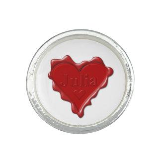 Julia. Red heart wax seal with name Julia