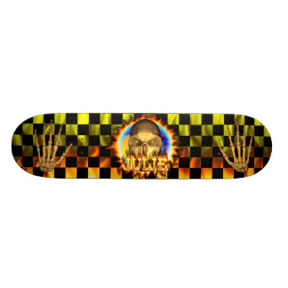 Julie skull real fire and flames skateboard design