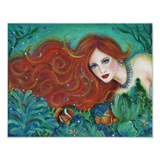 Juliet with her clownfish fantasy mermaid by Renee Poster
