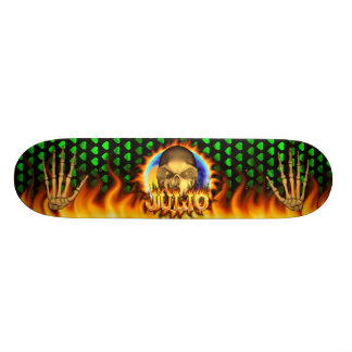 Julio skull real fire and flames skateboard design