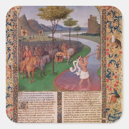 Julius Caesar  Crossing the Rubicon, c.1470 Square Stickers