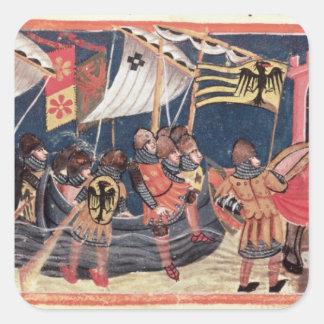 Julius Caesar  landing in England Square Sticker