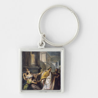 Julius Caesar  on his way to the Senate Silver-Colored Square Key Ring