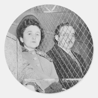 Julius & Ethel Rosenberg After Being Found Guilty Round Sticker