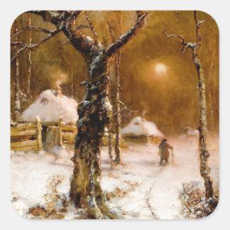 Julius Klever: Winter Night Walk Square Sticker
