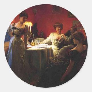 Julius LeBlanc Stewart- A Supper Party Round Stickers