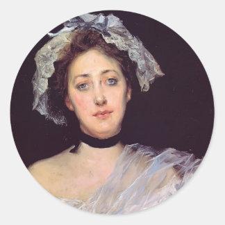 Julius LeBlanc Stewart- An English Lady Round Stickers