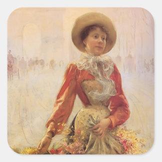 Julius LeBlanc Stewart- Flower Girl Square Stickers