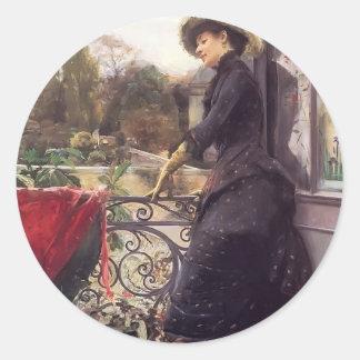 Julius LeBlanc Stewart- On The Terrace Round Stickers