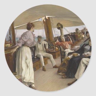 "Julius LeBlanc Stewart- On Yacht ""Namouna"", Venice Round Sticker"