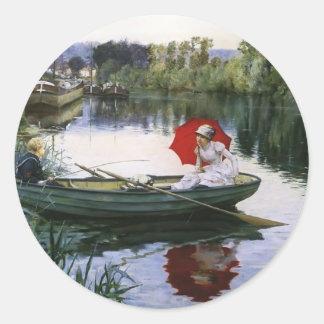 Julius LeBlanc Stewart- Quiet Day on the Seine Round Stickers
