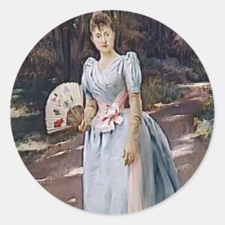 Julius LeBlanc Stewart- Woman in a Garden Round Stickers