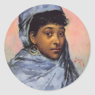 Julius LeBlanc Stewart- Young Woman In Blue Round Stickers