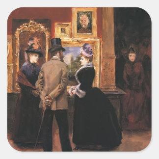 Julius Stewart-Ladies with a Gentleman in Top Hat Square Stickers