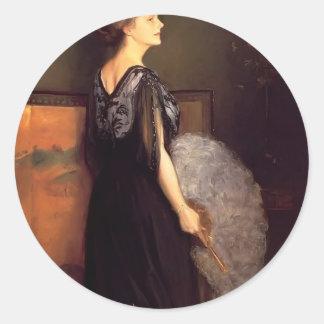 Julius Stewart- Portrait of Mrs Francis Blake Round Sticker