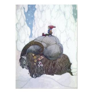 Jullbocken The Yule Goat Being Ridden By A Child 14 Cm X 19 Cm Invitation Card