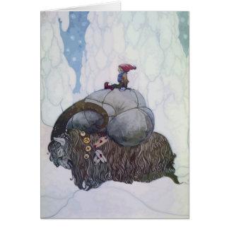 Jullbocken The Yule Goat Being Ridden By A Child Greeting Card