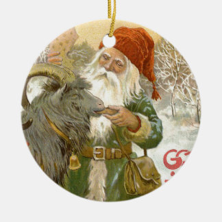 Jultomten Feeds Yule Goat a Cookie Christmas Ornament