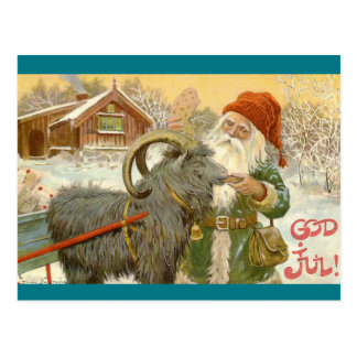 Jultomten Feeds Yule Goat a Cookie Postcard
