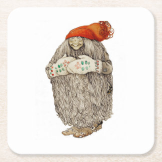 Jultomten in a Stocking Hat Square Paper Coaster