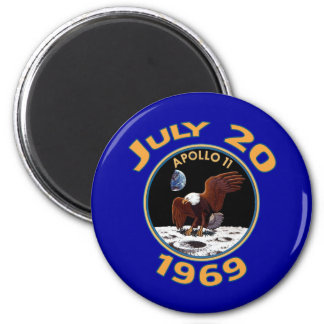 July 20, 1969 Apollo 11 Mission to the Moon 6 Cm Round Magnet