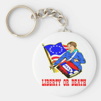 July 4, 1776 Liberty Or Death Independence Day Basic Round Button Key Ring