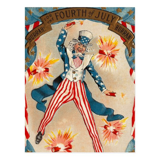 July 4 Independence Day Uncle Sam Postcard
