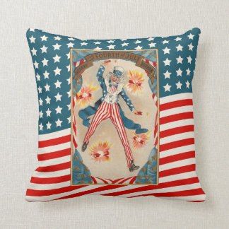 July 4 Uncle Sam Patriotic Vintage Americana Cushion