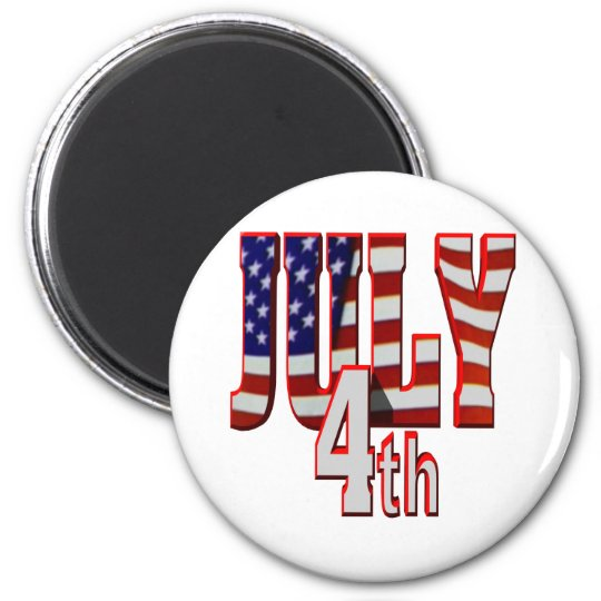 July 4th 6 cm round magnet