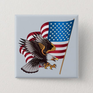 July 4th American Flag and Eagle 15 Cm Square Badge