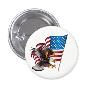 July 4th American Flag and Eagle 3 Cm Round Badge
