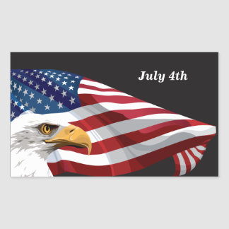 July 4th American Flag and Eagle Rectangular Sticker
