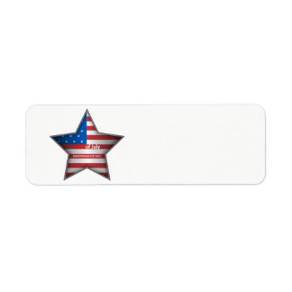 July 4th American Flag Star Return Address Label
