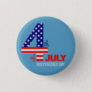 July 4th American Flag Text 3 Cm Round Badge