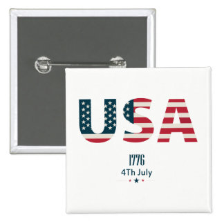 July 4th american flag USA text 15 Cm Square Badge