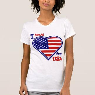 July 4th American Heart Flag I Love the USA Ladies Shirt