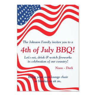 July 4th BBQ Celebration 13 Cm X 18 Cm Invitation Card