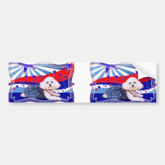 July 4th - Bichon Frise - Mia Bumper Sticker