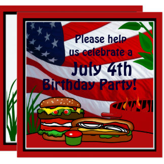 July 4th Birthday Grill Picnic Hamburger Hotdog 13 Cm X 13 Cm Square Invitation Card