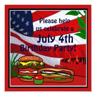 July 4th Birthday Grill Picnic Hamburger Hotdog 5.25x5.25 Square Paper Invitation Card