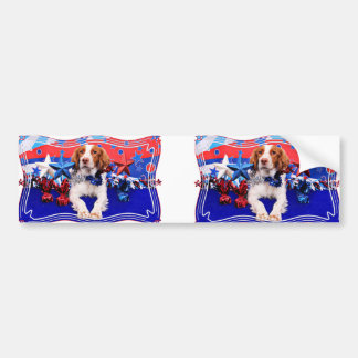 July 4th - Brittany Spaniel - Charlie Bumper Sticker