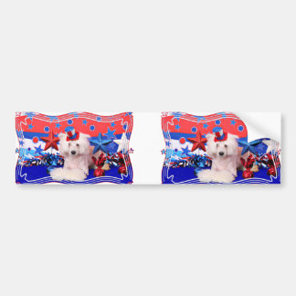 July 4th - Chinese Crested - Dash Bumper Sticker