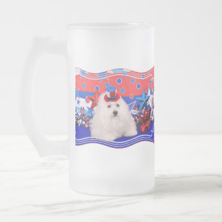 July 4th - Coton de Tulear - Claire Frosted Glass Mug