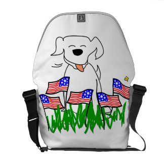 July 4th Dog with Flags Messenger Bag