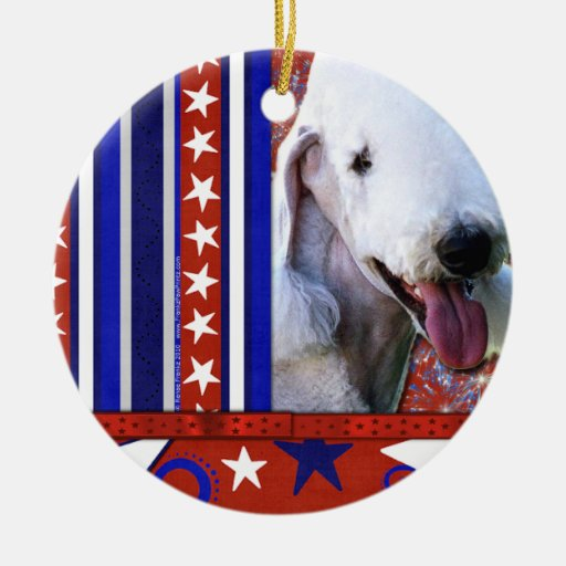 July 4th Firecracker - Bedlington Terrier Round Ceramic Decoration