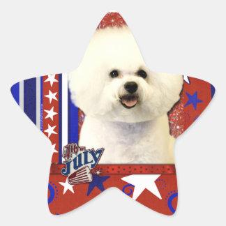 July 4th Firecracker - Bichon Frise Star Sticker