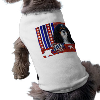 July 4th Firecracker - Cavalier - Tri-color Sleeveless Dog Shirt