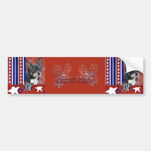 July 4th Firecracker - Chihuahua - Isabella Bumper Stickers