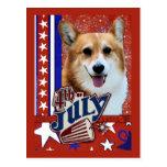 July 4th Firecracker - Corgi Post Card