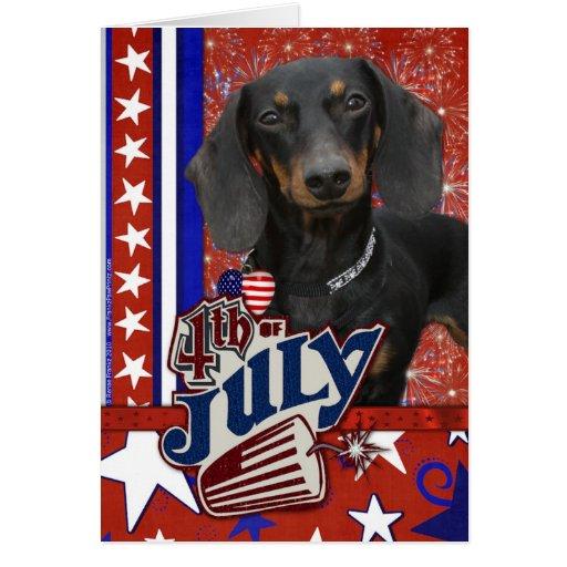July 4th Firecracker - Dachshund Cards